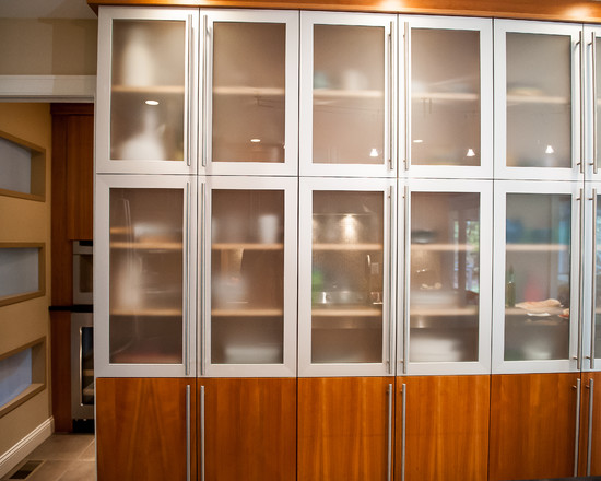 Aluminum Framed Doors With Frosted Glass Make This Custom Pantry Area A  Showpiece